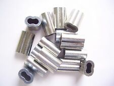 """100 Zinc Plated Copper Swage Crimp Sleeves for Wire Rope Cable, 1/8"""""""