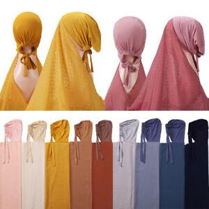 Fashion Women Chiffon Scarf with Bonnet Inner Cap Strap Long Shawls Hijab Wrap