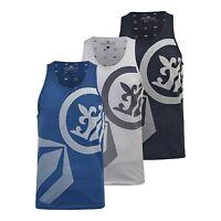 Mens Crosshatch Sleeveless Muscle Vest Tank Top Gym Casual Summer Print S-XXL