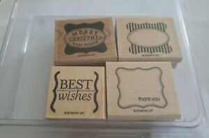 Stampin up! Stempel Set Cute & Curly Holz 4 Stück Holzstempel Weihnachten