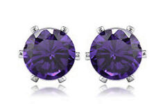 Amazing Amethyst Purple Cubic Zirconia Round Shape Studs 6 mm Stud Earrings E517