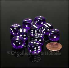 NEW 10 Transparent Purple 12mm Rounded Edge D6 Dice Set D&D RPG Game MTG Chessex