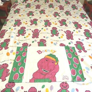 """Barney the Dinosaur Twin Flat Bed Sheet Pillow Case """"I Love You"""" Vintage 1992"""