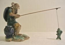ESTATE Detailed China Chinese Mudmen FISHING Pole w/ FISH Mud Man Mudman Figure