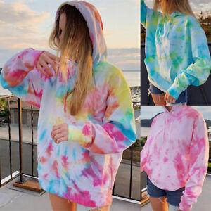 Womens Tie Dye Rainbow Long Sleeve Sweatshirt Ladies Hoodie Pullover Jumper Tops