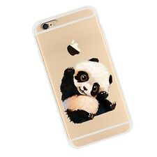 Clear Cute Panda Soft Silicone Case TPU Phone Cover for iPhone Samsung Huawei
