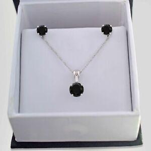 3 Ct Round Cut Black Diamond Earrings & Pendant Jewelry Set 14k White Gold Over
