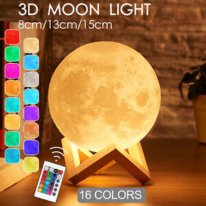 3D Remote Control 16 Colour Rechargeable Moon Lamp Night Light Kids Dimmable LED