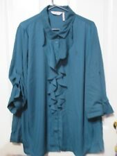 LADIES  PLUS SIZE 20 JADE GREEN FRILLED FRONT MILLERS BLOUSE