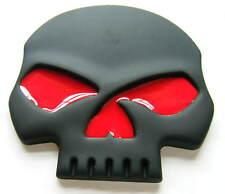 Negro Coche Insignia De Calavera Con Ojos Rojos Insignia De Metal Auto Adhesivo Nuevo
