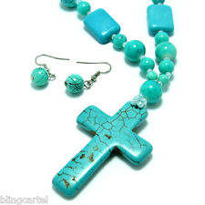 "Turquoise Retro Cross Tibetan Chain Pendant 30"" Long Bead Necklace And Earrings"