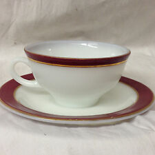 PYREX USA WHITE MILK GLASS MAROON BAND CUP & SAUCER OZ GOLD TRIM