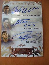 Cristiano Ronaldo,Lionel Messi,Neymar Jr.2015 Legends Leaf Sport Triple Auto 1/4