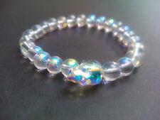 Aurora Borealis Clear Crystal Skull  Mystic Bead Baby Chrome King Bracelet