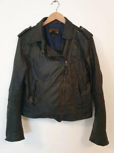 INFINITY Genuine Leather Cropped Biker Jacket Size XXL