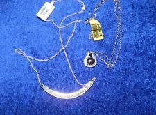 Black Star Diopside Silver Pendant with Chain & Bali Sterling Bar Necklace