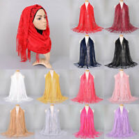 Women Muslim Islamic Solid Color Lace Jacquard Long Hijab Scarf Shawl Wrap New