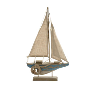 Wooden Distressed Sail Boat Nautical Ornament
