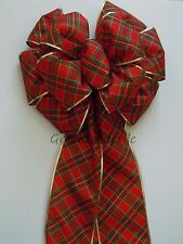 "13"" Red Green Country Plaid Bow Christmas Tree Topper Bow Winter Holidays Decor"