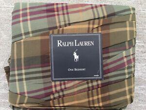 RALPH LAUREN  EDGEFIELD  PLAID  CALIFORNIA  KING  BEDSKIRT DUST RUFFLE NEW RARE!
