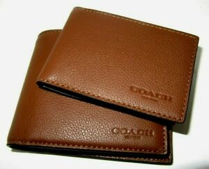 Coach F74991 Men's Compact ID Wallet Dark Saddle Sport Calf Leather NWT $178