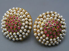 Large Byzantine Style garnet poured glass Gold plat faux pearls Button Earrings
