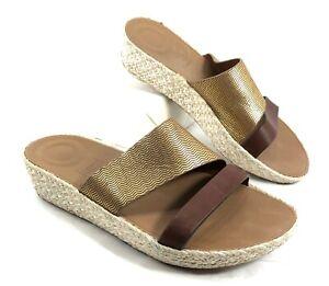 EUC Women's FitFlop Slides Sandals Asya Slide Gold & Brown leather Sz 8