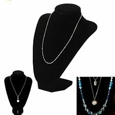 Black Velvet Necklace Pendant Chain Link Bracelet Jewelry Display Holder Stand