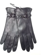 Ladies Genuine Leather Wrist Strap Gloves,Black, Large