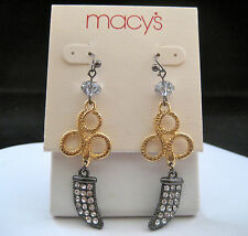 Macy's Gold Silver Long Drop Dangle Earrings Bead Pave Crystals Horn Snake New