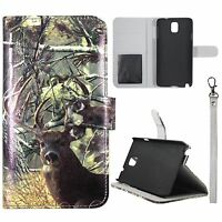 Wallet Tail Deer Camouflage For Samsung Galaxy Note 3 N9000 Flip Case Cover Gl