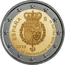 "SPAGNA SPAIN SPANIEN 2 € EURO 2018  "" 50° FELIPE "" FDC BU ST DA ROTOLINO"