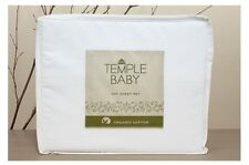 NEW BAMBURY COT BABY TEMPLE ORGANIC COTTON SOFT SHEET SET WHITE 250 THREAD COUNT