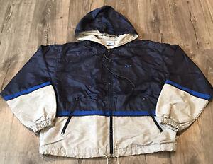 Reebok Mens Size Medium Full Zip Lined Windbreaker Jacket Blue Gray Striped
