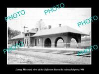 OLD POSTCARD SIZE PHOTO OF LEMAY MISSOURI JEFFERSON BARRACKS RAIL DEPOT c1900