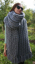 5 strands Soft Wool Extra thick SCARF hand knit Gray Men Women