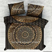 Indian Black Gold Ombre Mandala Duvet Cover Set Quilt Blanket Doona Cover Pillow