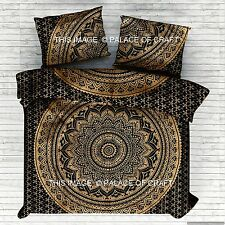 Indian Black Gold Ombre Mandala Duvet Cover Set Quilt Blanket Doona Cover Pillow