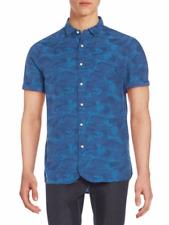 New $99 JACHS New York Indigo Blue Camo Woven Texture Camouflage Cotton Shirt~L