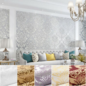 10M Luxury European Damask 6 colors Embossed Textured Non-woven Wallpaper Roll