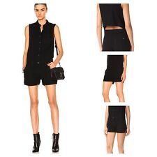 d7cedc8e26a6 Rag   Bone Jean Dumont Romper Womens Size XXS Button up Cutout Back Black  Cotton