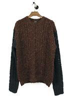 Neu Original Diesel Wolle Strick Dick Warm Braun Herren Pullover L Größe 190GBP