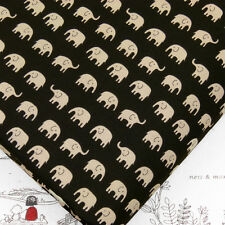 Cotton Fabric FQ Light Brown Elephant on Black Japanese Quilting Fabrictime J73