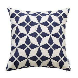 Cotton Embroidery Cushion Cover, Geometric Navy Blue Decorative Throw cover