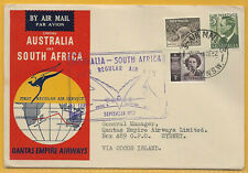 Australia 1952 1s1d QANTAS EMPIRE AIRWAYS 1st Regular Air Mail to S AFRICA.