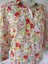 JONES NEW YORK WOMAN Red Yellow Floral Cotton 3/4 Sleeve Blouse Plus 2X Exc.