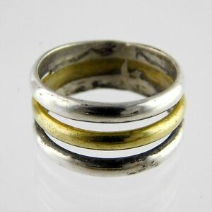 Sterling Silver Triple Band Ring Two Tone Metals 925 Size 7.5