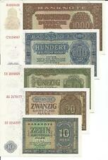 GERMANY-DDR COMPLETE SET 9 NOTES 1000-0.50 MARKS 1948. UNC. RARE. 4RW 25JUL