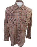 Sears Western Wear Men shirt long sleeve vintage 70s L slim fit plaid pearl snap