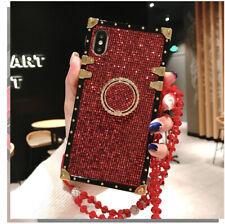 Fashion For Samsung s10 S9 S10E +Square Diamond Lattice Ring Holder Trunk Case